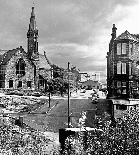 Sandbank St at Maryhill Rd, from the canal.  June 1976