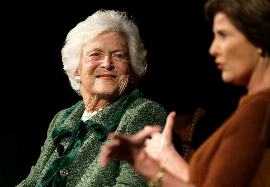 . Former first ladies Barbara Bush, left, and Laura Bush, take part in the Enduring Legacies of America�s First Ladies conference Thursday, Nov. 15, 2012, in Austin, Texas. Family members, former staff members, historians, and White House insiders were also spoke as part of the program. (AP Photo/David J. Phillip)
