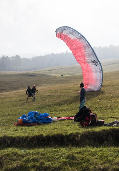successful paragliding landing, Kula Maui