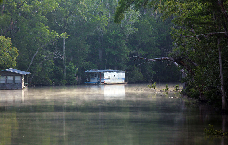 Fishing shacks on a bayou that feeds our canal.
