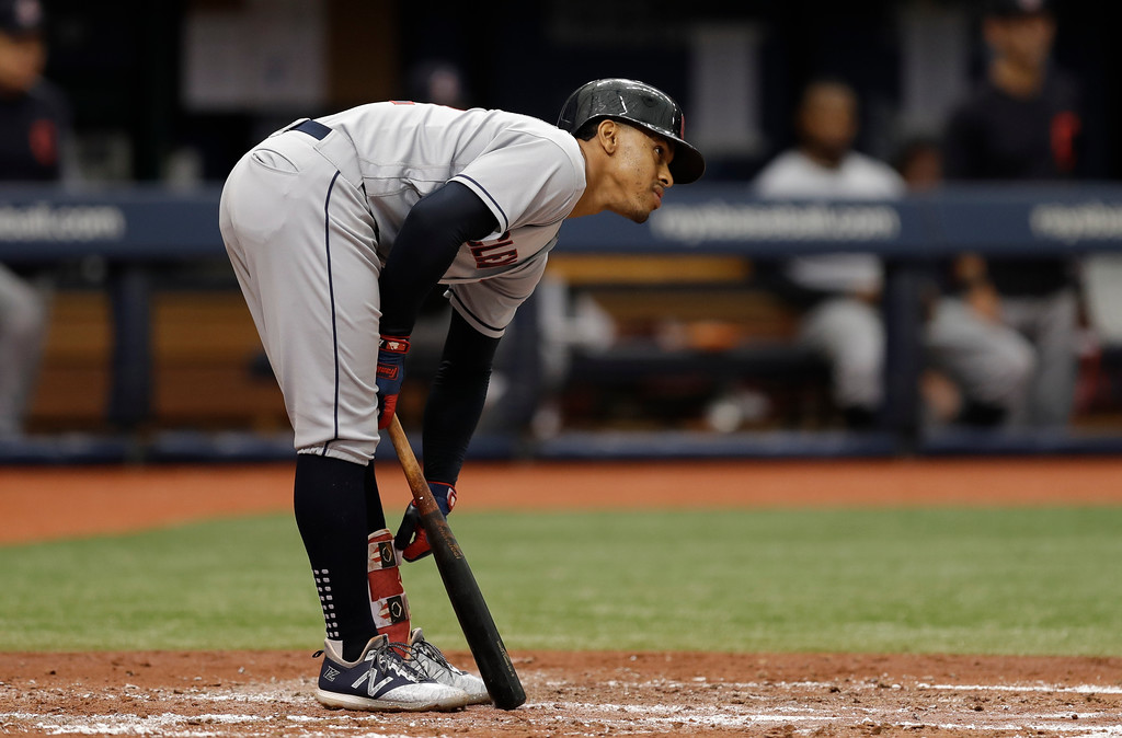 . Cleveland Indians\' Francisco Lindor strikes out against Tampa Bay Rays starting pitcher Blake Snell during the third inning of a baseball game Wednesday, Sept. 12, 2018, in St. Petersburg, Fla. (AP Photo/Chris O\'Meara)