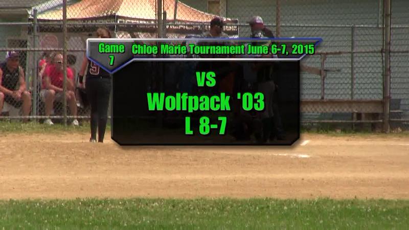 Sundogs June 6-7, 2015 Chloe Marie Tournament Game 7 vs Wolfpack Loss 8-7