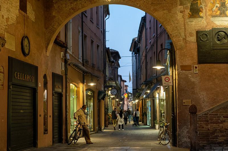 Ravenna street scene at dusk