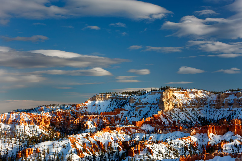 Late afternoon sweet light bathes the snow-covered hoodoos of Bryce Canyon National Park, Utah, USA.