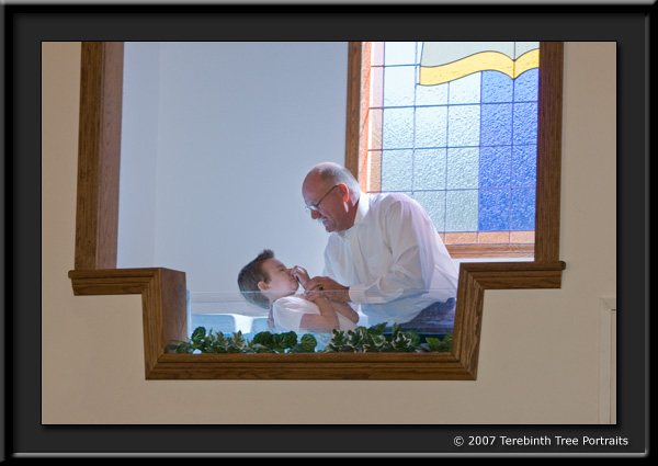 Photo of Ryan being baptized at our Temecula church