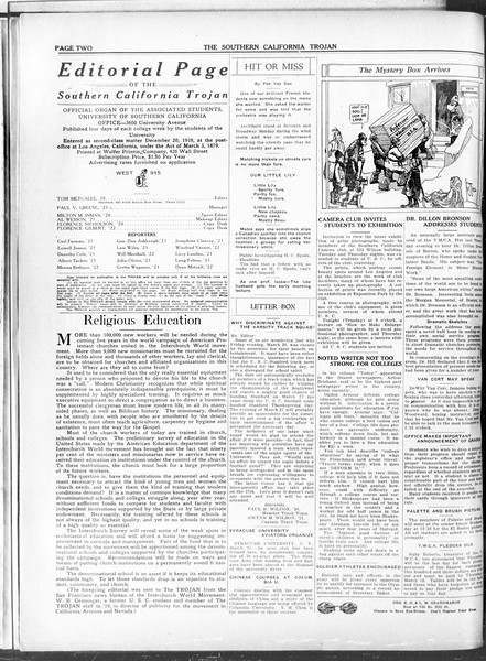 The Southern California Trojan, Vol. 11, No. 70, March 15, 1920