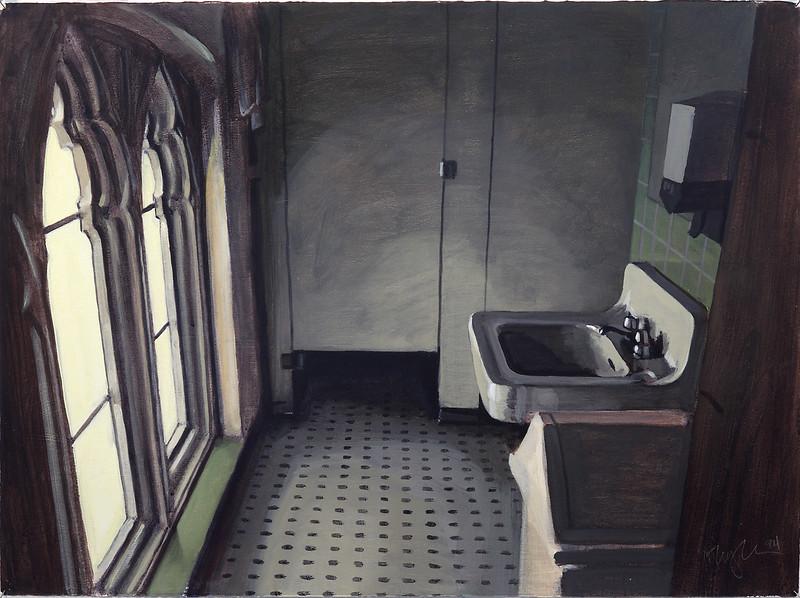 Ecclesiastical bathroom, acrylic on paper, 22 x 30, 1994