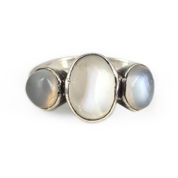 Vintage Art Deco Silver Moonstone Trilogy Ring