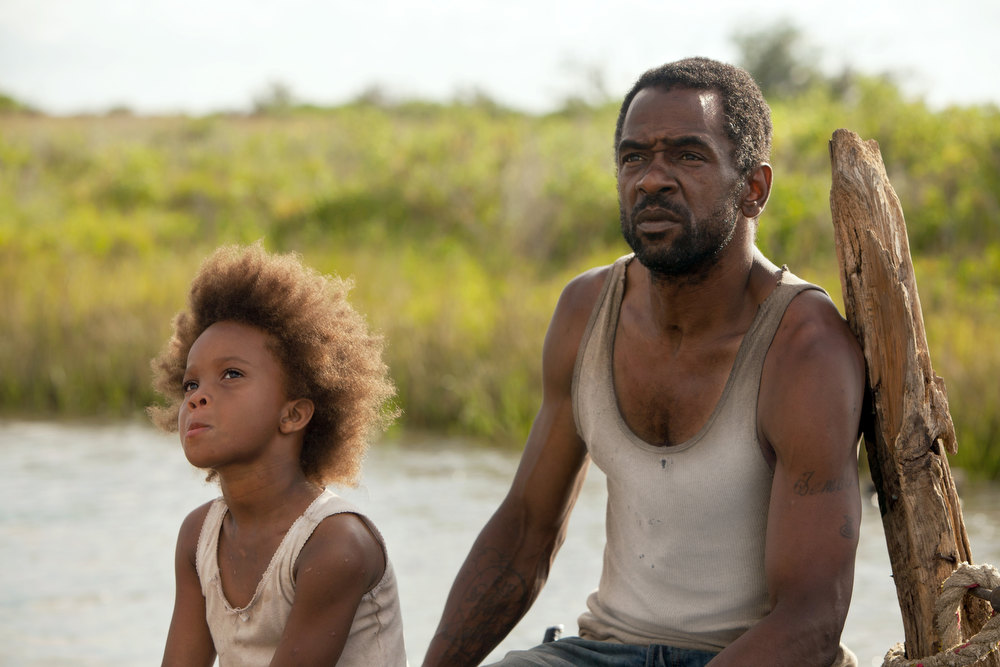 ". Quvenzhane Wallis as Hushpuppy and Dwight Henry as Wink in ""Beasts of the Southern Wild.\""  BEASTS OF THE SOUTHERN WILD. Photo Mary Cybulski/Provided by Fox Searchlight Pictures."