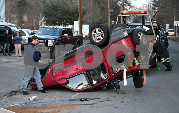 2/20/2018 Mike Orazzi   Staff The scene of a two-car crash at the intersection of Stafford Avenue, Brook Street and Fair Street in Bristol Tuesday. No injuries were reported.