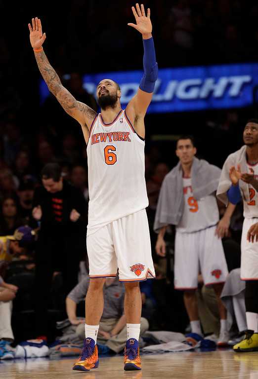 . New York Knicks\' Tyson Chandler reacts during the second half of the NBA basketball game against the Los Angeles Lakers at Madison Square Garden Sunday, Jan. 26, 2014, in New York. The Knicks defeated the Lakers 110-103. (AP Photo/Seth Wenig)
