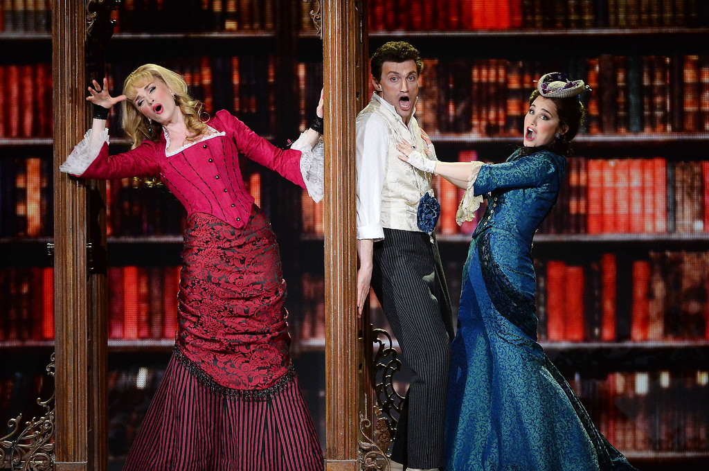 . Lisa O\'Hare, Bryce Pinkham and Lauren Worsham of \'A Gentleman\'s Guide To Love and Murder\' perform onstage during the 68th Annual Tony Awards at Radio City Music Hall on June 8, 2014 in New York City.  (Photo by Theo Wargo/Getty Images for Tony Awards Productions)