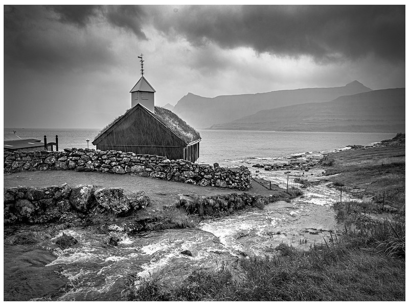 Faroe Country Church     Black and White Photography by Wayne Heim