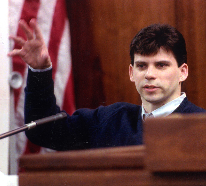 . Lyle Menendez testifies during trial in Los Angeles. Lyle and his brother Erik are accused of murdering their parents, Jose and Kitty Menendez in 1989. (Los Angeles Daily News file photo)
