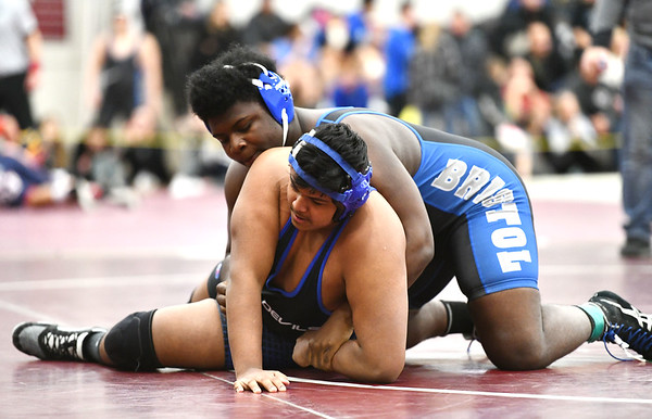 1/4/2020 Mike Orazzi | StaffrPlainville's Bhavya Patel and Bristol Eastern's Derion Minngia in a 220 pound match at Saturday's wrestling tournament at Bristol Central High School. r