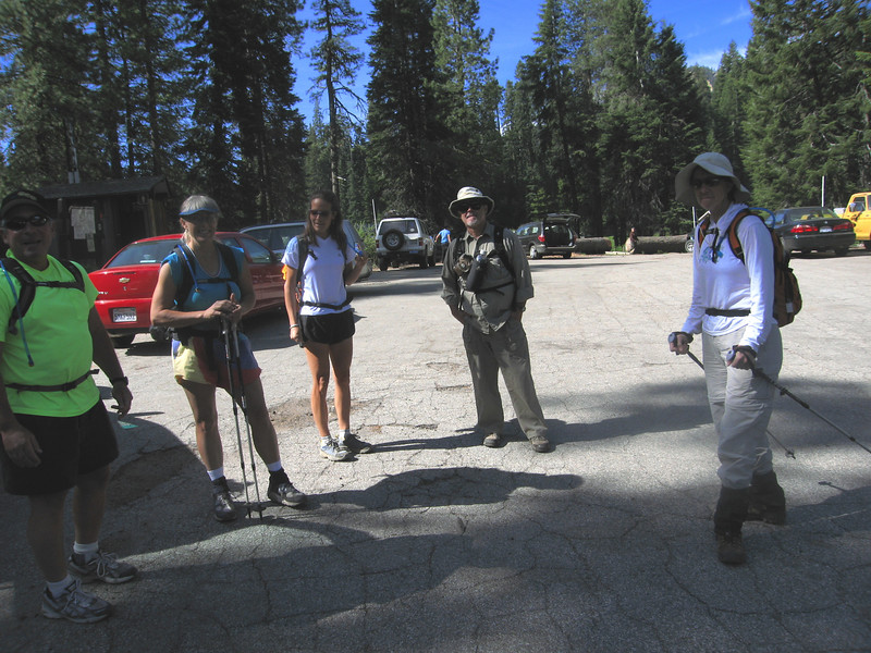 Bob,  Alice, Holly, Michael, and Liz - ready to head out from Quaking Aspen Campground to Slate Moutnain
