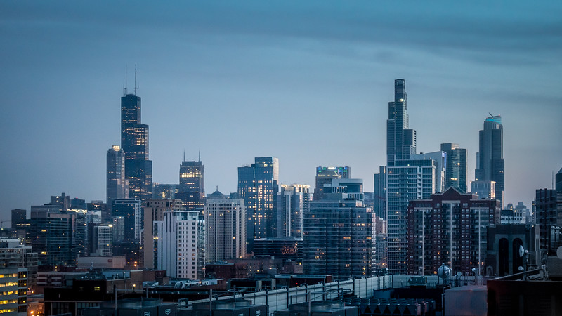 The dawn view of Chicago from my hotel room