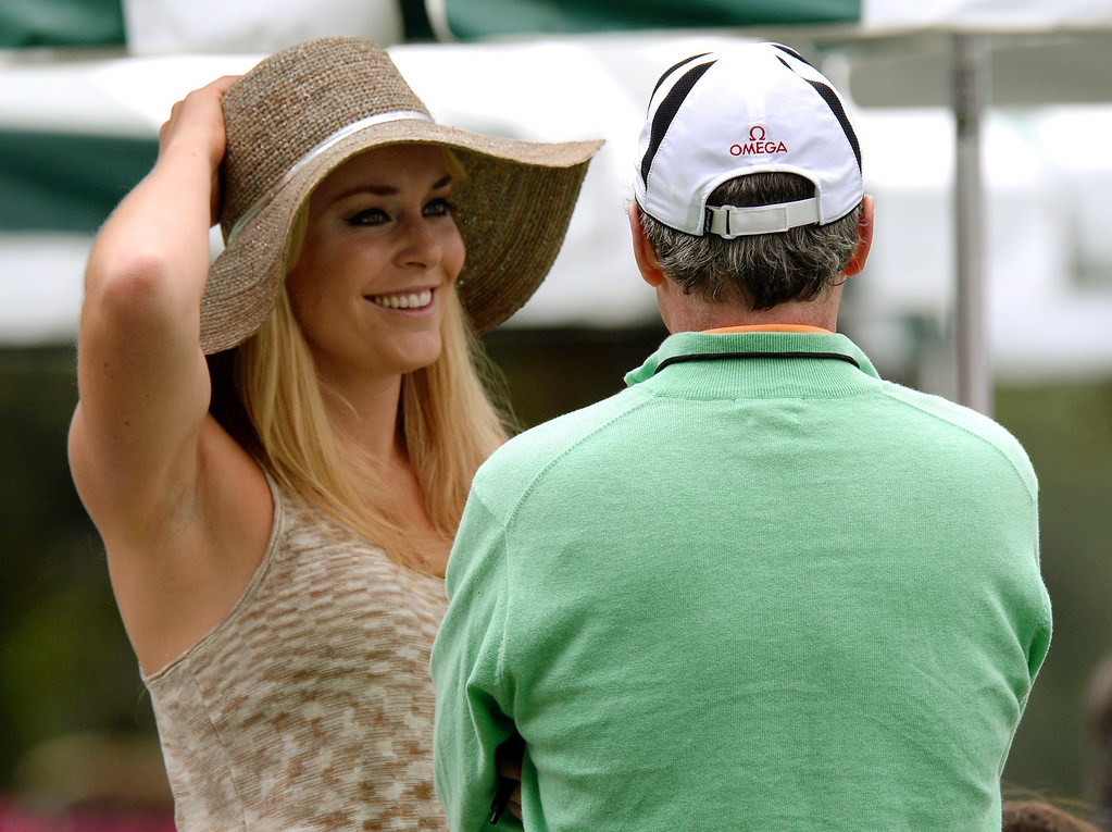 . US skier Lindsey Vonn waits at the clubhouse for Tiger Woods of the US to tee off during the first round of the 77th Masters golf tournament at Augusta National Golf Club on April 11, 2013 in Augusta, Georgia.    DON EMMERT/AFP/Getty Images