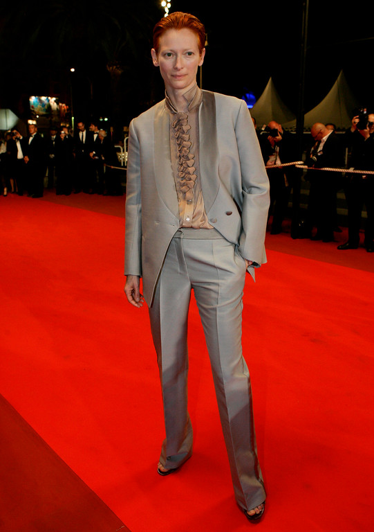 ". British actress Tilda Swinton arrives for the screening of the film ""The Man from London,\"" at the 60th International film festival in Cannes, southern France, on Wednesday, May 23, 2007. (AP Photo/Andrew Medichini)"