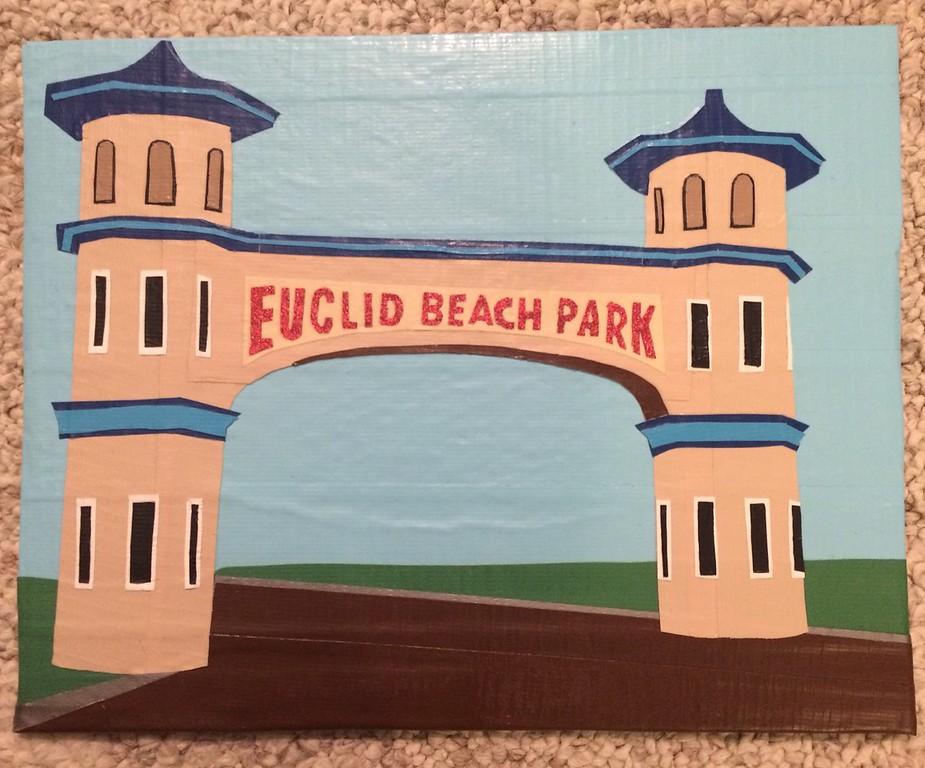 . Artwork by Jani Reddick <br> A depiction of Euclid Beach Park.