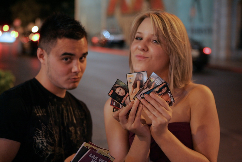 Mitch and Jessica collecting trading cards...