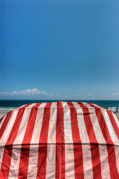 A brightly colored beach cabana in Myrtle Beach, SC on Tuesday, March 20, 2012. Copyright 2012 Jason Barnette