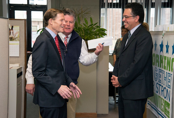 02/07/20 Wesley Bunnell | StaffrrSenator Richard Blumenthal visited Neighbor Works at 223 Arch St on Friday afternoon to announce federal grant money which has been allocated to the program. NHS Executive Director of New Britain John W. Kakulka, L, introduces Senator Blumenthal to Professor Talat Salama from CCSU.