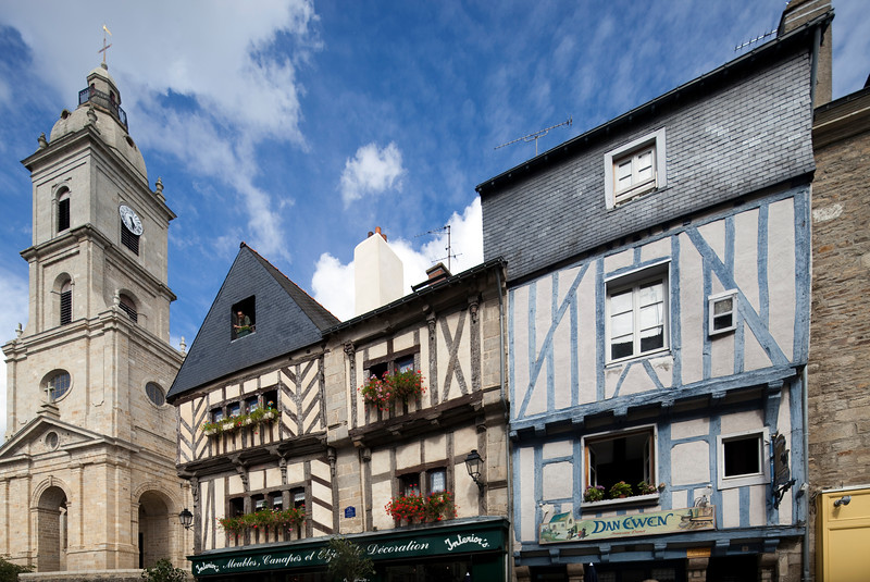 Bell tower of Saint Patern church and typical houses, Vannes, department of Morbihan, region of Brittany, France