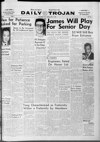 Daily Trojan, Vol. 47, No. 114, April 17, 1956
