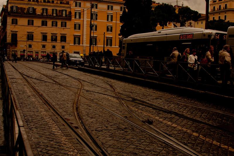 Tracks in Rome Italy