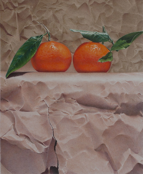 """""""Mandarins and Paper"""" (colored pencil) by Paco Martin"""