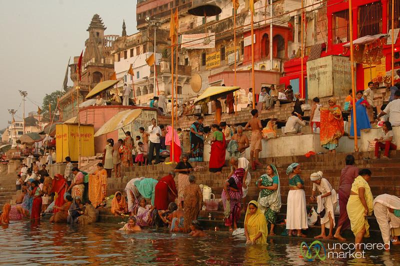 Morning Puja (Prayer) Along the Ganges River - Varanasi, India