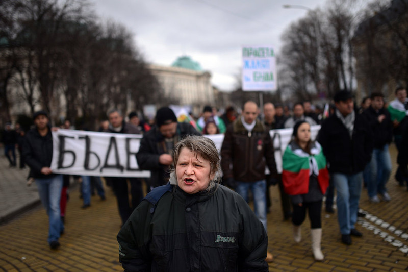 . Protesters shout slogans during a protest in  Sofia on February 24, 2013. Tens of thousands of protesters rallied across Bulgaria on Sunday to denounce austerity measures and corruption plaguing the country, just days after the right-wing government was forced to resign.             DIMITAR DILKOFF/AFP/Getty Images