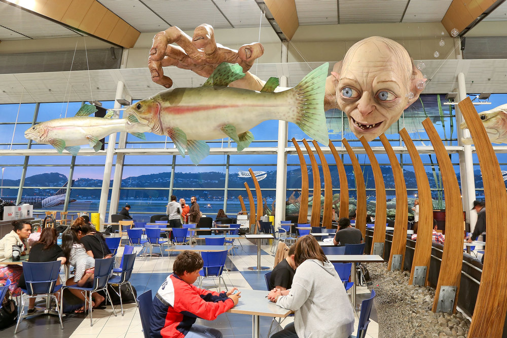Description of . A general view of a large Gollum sculpture installed by Weta ahead of the