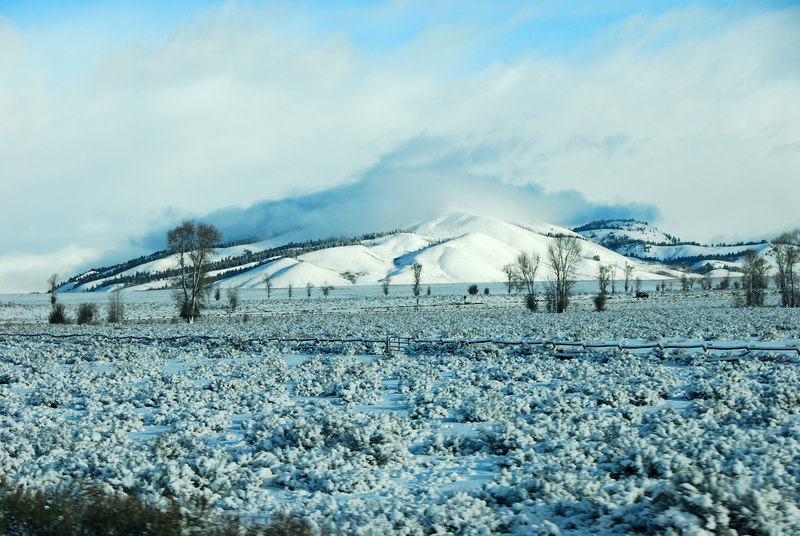 Snow covered hill   (Dec 14, 2006, 09:39am)  Taken from a moving bus traveling north on route 89 on the way to Jackson Hole airport..