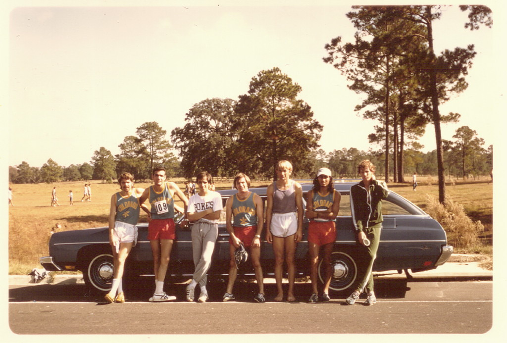 . Rick Trujillo 1973, AAU XC Championship, Gainsville, FL-- John Gregorio, Rick Trujillo, uk, uk, Lee Korkamp, Charlie Vigil, uk_ 24Nov1973_Photo provided by Rick Trujillo