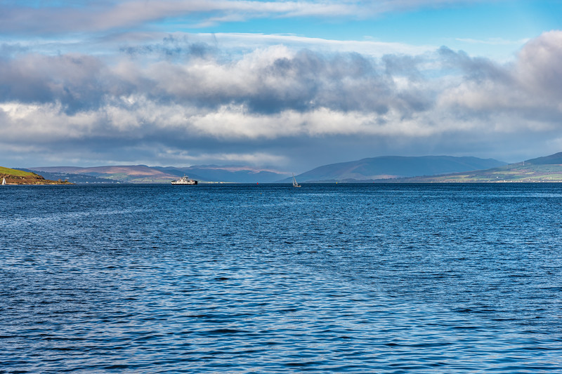 Looking Over to Rothesay and Dunoon from Largs Scotland and a Dramatic Winters Sky.