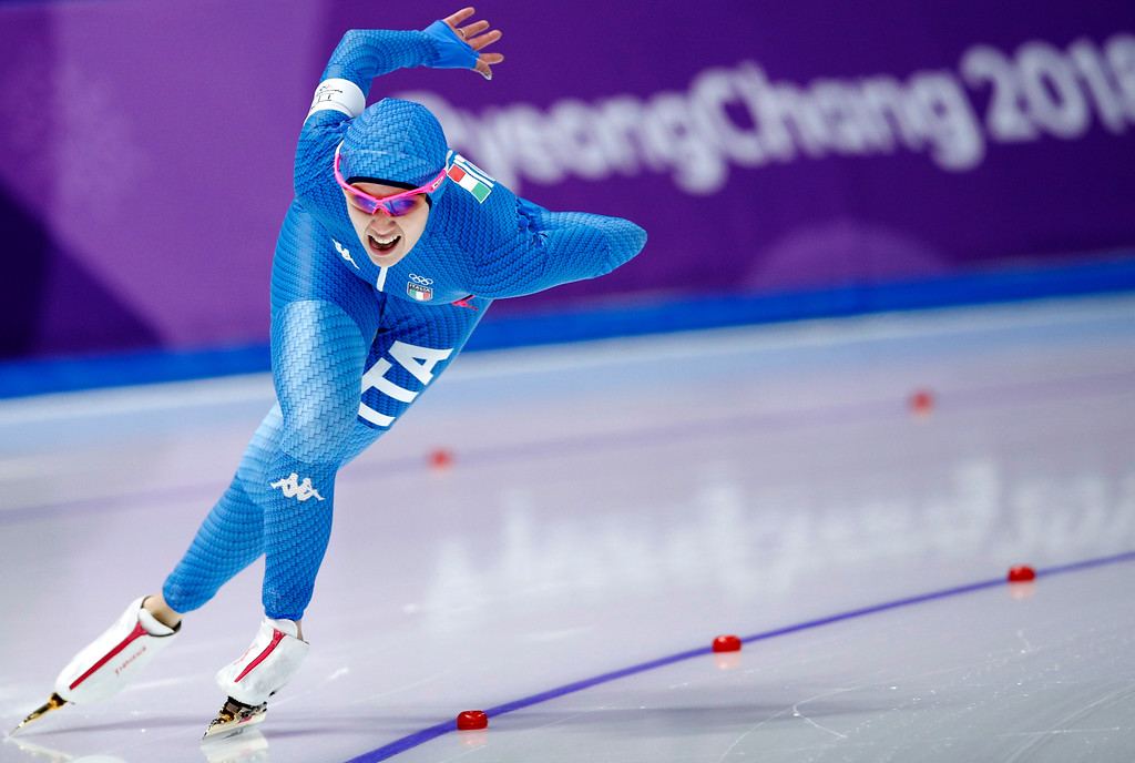 . Francesca Bettrone of Italy competes during the women\'s 1,500 meters speedskating race at the Gangneung Oval at the 2018 Winter Olympics in Gangneung, South Korea, Monday, Feb. 12, 2018. (AP Photo/Vadim Ghirda)