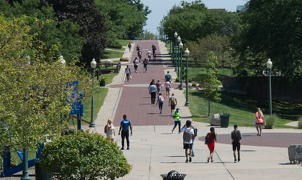 08/29/19 Wesley Bunnell | Staff Students walk through the CCSU campus on Thursday August 29, 2019.