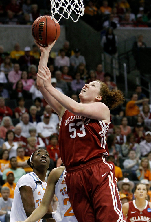 . Oklahoma forward Joanna McFarland (53) shoots against Tennessee during a regional semifinal game in the women\'s NCAA college basketball tournament in Oklahoma City, Sunday, March 31, 2013.  (AP Photo/Alonzo Adams)