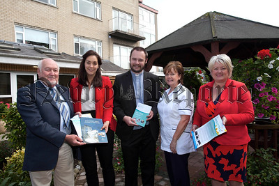New Minister Rev. Andrew Conway, Presbyterian Church Sandy Street visits Southern Area Hospice,picture ltor.John Dalzell,MBE,Sarah Colgan,SAH,Rev. Andrew Conway,Marian Barry, Community Liaisen Nurse, Carmel Campbell,Nursing Director. R1435018