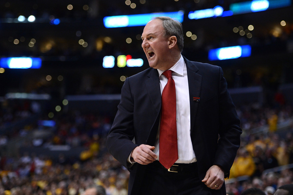. LOS ANGELES, CA - MARCH 30:  Head coach Thad Matta of the Ohio State Buckeyes reacts in the first half while taking on the Wichita State Shockers during the West Regional Final of the 2013 NCAA Men\'s Basketball Tournament at Staples Center on March 30, 2013 in Los Angeles, California.  (Photo by Harry How/Getty Images)