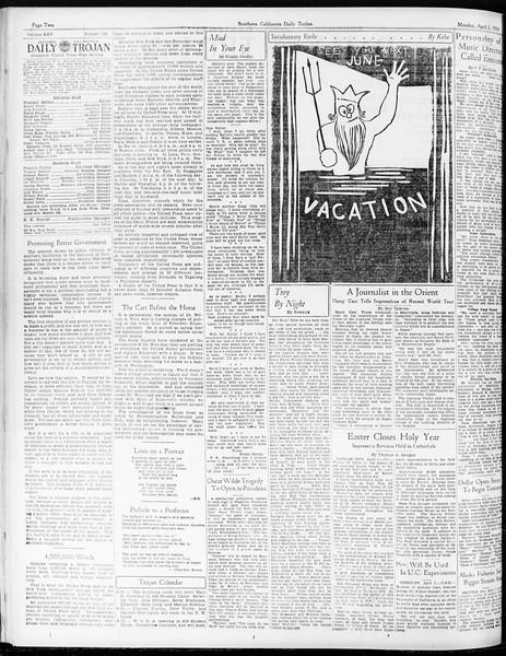 Daily Trojan, Vol. 25, No. 104, April 02, 1934