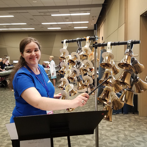 Detroit Handbell Ensemble's Nancy Kindraka at the 2018 Handbell Musicians of America National Seminar