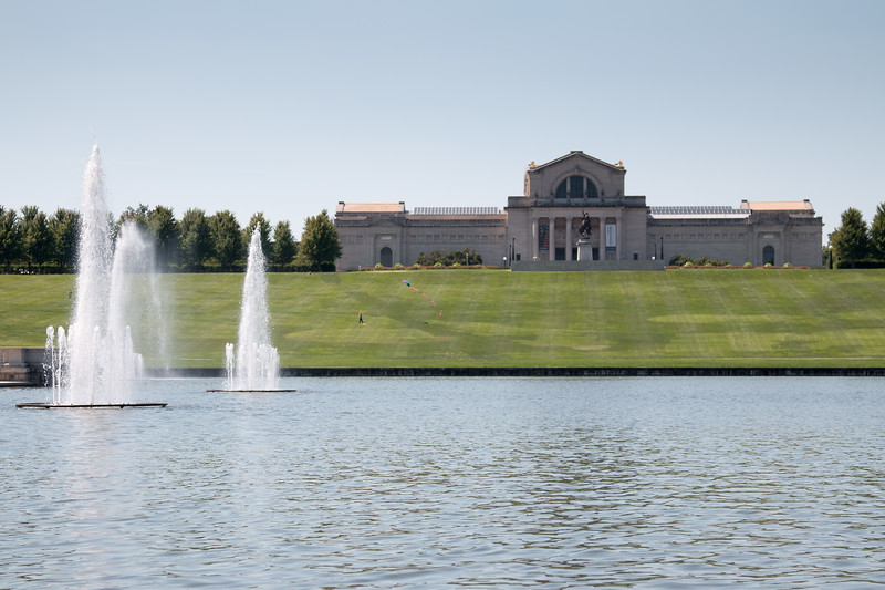 St. Louis Art Museum  as seen from the Grand Lagoon -- A paddle boat trip through the canals and Post-Dispatch Lake of Forest Park, St. Louis