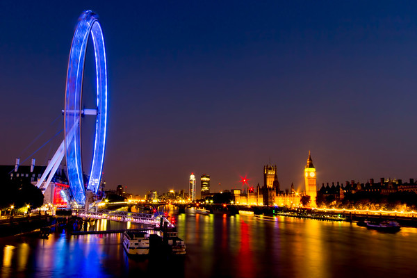 The London Eye, Big Ben, The Palace of Westminster, and the River Thames