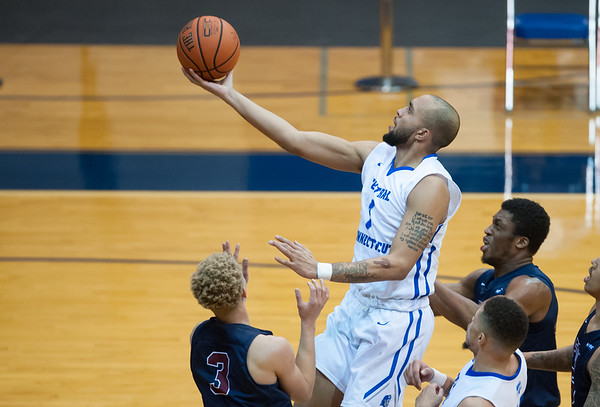 CCSU Men's basketball defeated Fairleigh Dickinson University 66-65 at CCSU. Tyler Kohl (1). | Wesley Bunnell | Staff