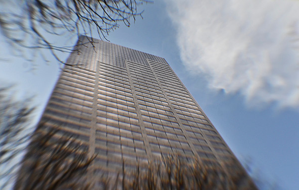 0327 sky high  One of our two tallest buildings, this one is 40 stories, with a restaurant near the top.