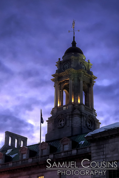 Portland City Hall's bell tower in the evening.