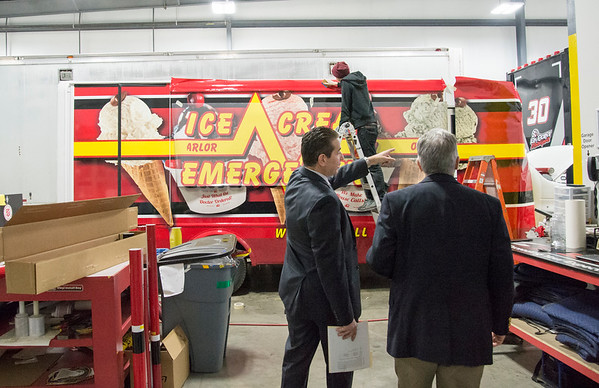 02/10/20 Wesley Bunnell | StaffrrCT State Chief Manufacturing Officer Colin Cooper visited Sign Pro, Inc. in Southington on Monday February 10, 2020. Sign Pro President Peter Rappoccio, L, and Cooper walk into the vehicle section of the plant.
